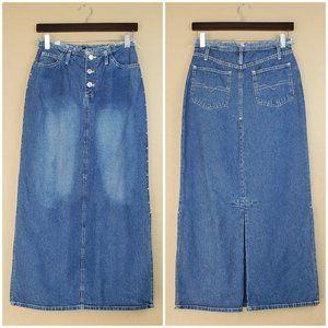 Moments Studded Frayed Waist Long Denim Skirt